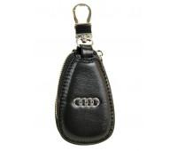 Ключница F633 Audi мужская кожаная черная для авто