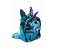 Рюкзак Fantasy Accessories Unicorn Единорог с пайетками для девочек голубо-розовый (FA-shine06lblue)