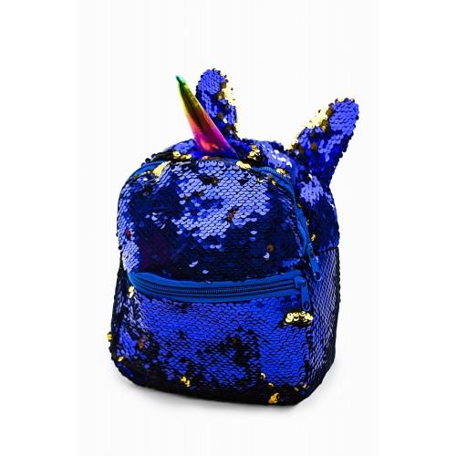 Рюкзак Fantasy Accessories Unicorn Единорог с пайетками для девочек сине-золотой (FA-shine03blue)