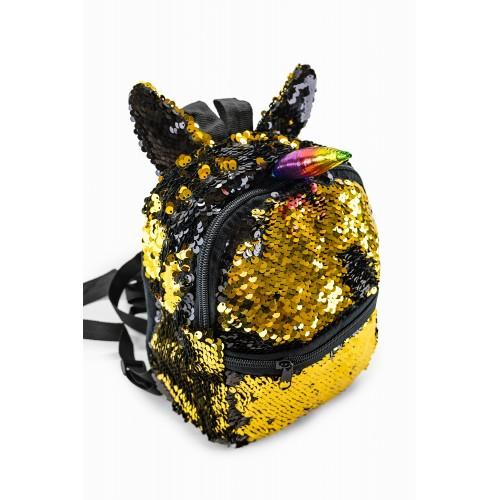 Рюкзак Fantasy Accessories Unicorn Единорог с пайетками для девочек черно-золотой (FA-shine02black)