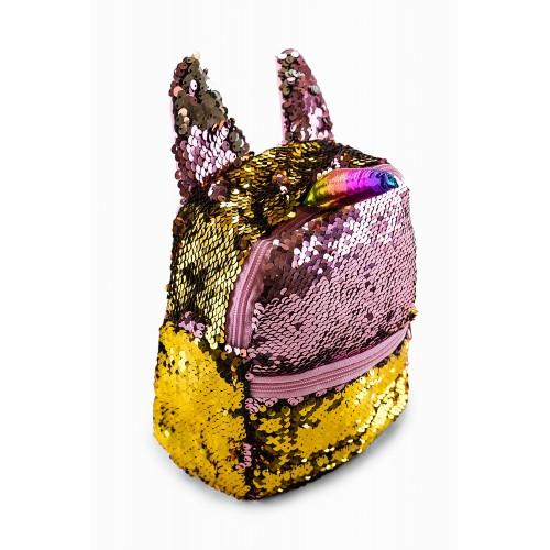 Рюкзак Fantasy Accessories Unicorn Единорог с пайетками для девочек розово-золотой (FA-shine05pink)