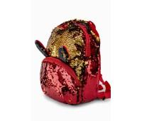 Рюкзак Fantasy Accessories EARS для девочек с двусторонними пайетками красно-золотой (FA-BSh03red)