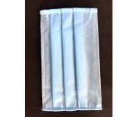 Маска защитная для лица (комплект 100 шт.) одноразовая четырехслойная, плотность 80 г/м² голубая