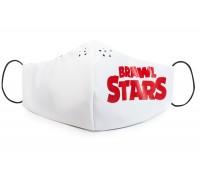 Защитная маска на лицо Brawl Stars Бравл Старс подростковая со съемным фильтром (комплект маска + 10 фильтров) red