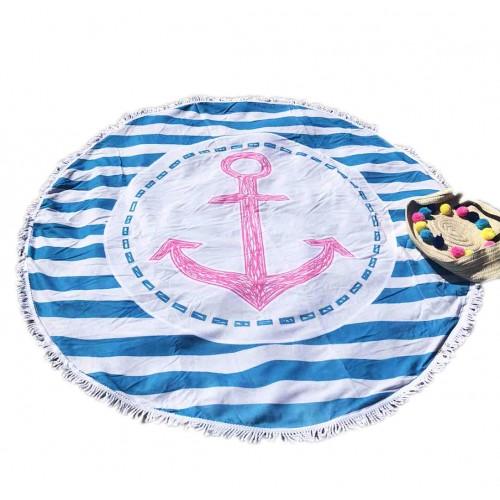 Пляжное полотенце подстилка Fantasy Accessories Якорь 2195.277 круглое, 150 см