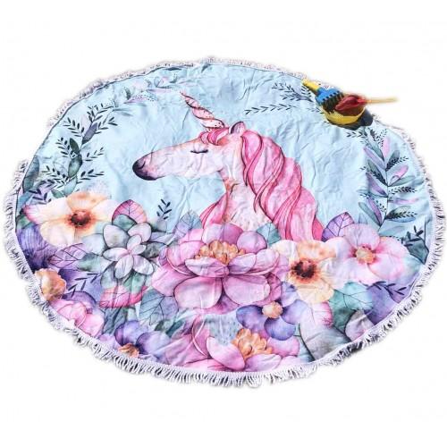 Пляжное полотенце подстилка Fantasy Accessories Единорог 2172.277 круглое, 150 см