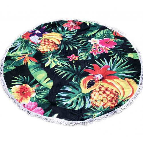 Пляжное полотенце подстилка Fantasy Accessories Фрукты 2193.277 круглое, 150 см