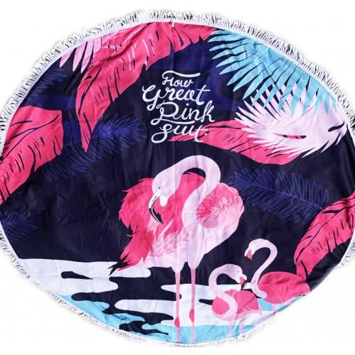 Пляжное полотенце подстилка Fantasy Accessories Фламинго 2177.277 круглое, 150 см