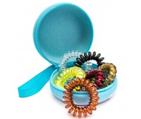 Резинка для волос пружинка Ассорти в футляре (комплект 6 штук) голубой футляр