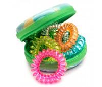 Резинка для волос пружинка Ассорти в футляре (комплект 6 штук) зеленый чехол