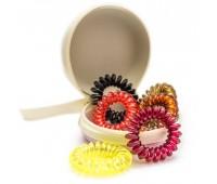 Резинка для волос пружинка Ассорти в футляре (комплект 6 штук) розовый чехол