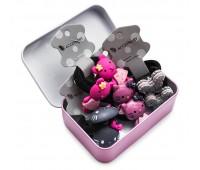 Резинка для волос Ассорти в футляре (комплект 8 штук) + шкатулка фламинго