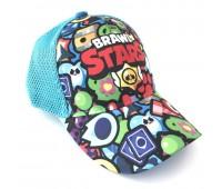 Кепка Бравл Старс Brawl Stars детская Gear Bag  голубая (L-blue-manysign)