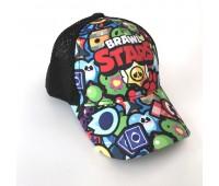 Кепка Бравл Старс Brawl Stars детская Gear Bag  черная (Black-manysign)