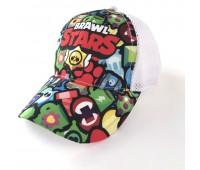 Кепка Бравл Старс Brawl Stars детская Gear Bag  белая (White-manysign)