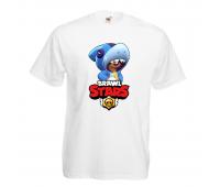 Футболка детская Бравл Старс Леон Акула (Brawl Stars Shark) белая 104 см