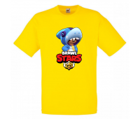 Футболка детская Бравл Старс Леон Акула (Brawl Stars Shark) желтая 104 см