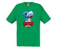 Футболка детская Бравл Старс Леон Акула (Brawl Stars Shark) зеленая 104 см