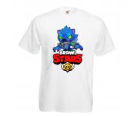Футболка детская Бравл Старс Оборотень (Brawl Stars Oboroten) белая 104 см