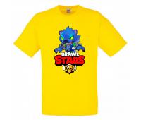 Футболка детская Бравл Старс Оборотень (Brawl Stars Oboroten) желтая 104 см
