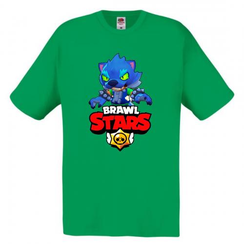 Футболка детская Бравл Старс Оборотень (Brawl Stars Oboroten) зеленая 104 см