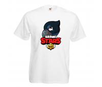 Футболка детская Бравл Старс Ворон (Brawl Stars Voron) белая 104 см