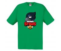 Футболка детская Бравл Старс Ворон (Brawl Stars Voron) зеленая 104 см