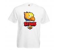 Футболка детская Бравл Старс Золотой Ворон (Brawl Stars Gold Voron) белая 104 см