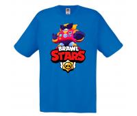 Футболка детская Бравл Старс Вольт (Brawl Stars Surge) голубая 116 см