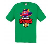 Футболка детская Бравл Старс Вольт (Brawl Stars Surge) зеленая 116 см