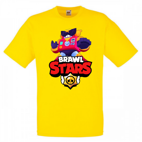 Футболка детская Бравл Старс Вольт (Brawl Stars Surge) желтая 116 см