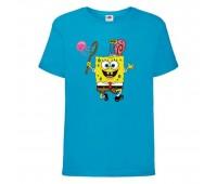 Футболка  Спанч Боб 28 (Sponge Bob) голубая