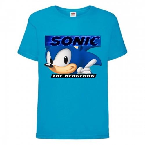 Футболка детская Соник лицо (SONIC) синяя (snc  blu-4) 152 см