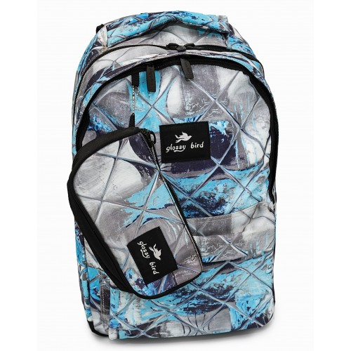 Рюкзак Glossy Bird 4 Zippier ортопедический школьный для ноутбука с пеналом серо-голубой (GB-02GB)