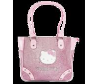 Сумка Hello Kitty для девочек большая прямоугольная розовая с блеском (HK-03B-pink)