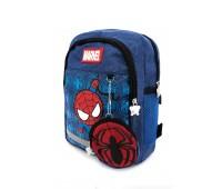 Рюкзак Aimina Spiderman Человек Паук 5208 дошкольный с кошельком светло-синий (A-Sm01-blue)