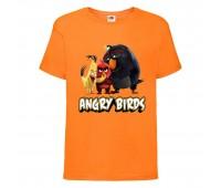 Футболка детская Энгри Бердс  (Angry Birds) оранжевая  (AB-red-chak&bomb-2-orange) 152 см
