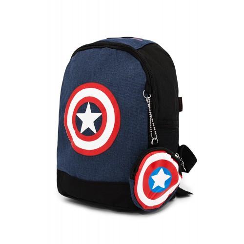 Рюкзак Aimina Capitan America Капитан Америка  5206 дошкольный кошельком темно-синий (A-CA09-navy)