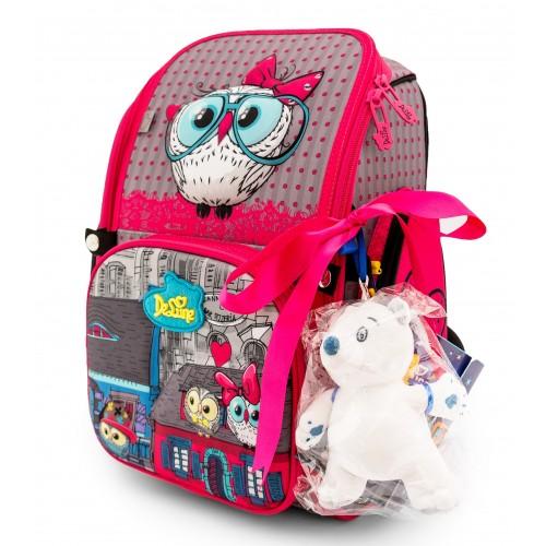 Рюкзак-ранец DeLune 6-116 школьный ортопедический с 3D изображением розовый (DL-6-116)
