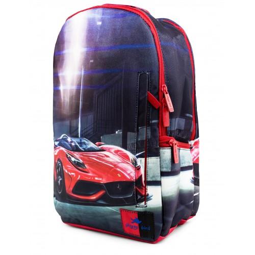 Рюкзак Glossy Bird GB1804 ортопедический школьный с отсеком для ноутбука красно-синий (GB-04-cars-RB)