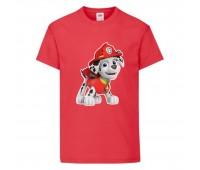 Футболка детская Щенячий патруль (Paw Patrol) красная (marshal-red) размер 104 см