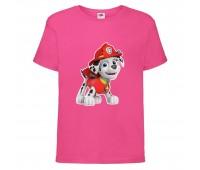 Футболка детская Щенячий патруль (Paw Patrol) розовая (marshal-pink) размер 104 см