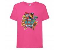 Футболка детская Щенячий патруль (Paw Patrol) розовая (all-puppies-pink) размер 104 см
