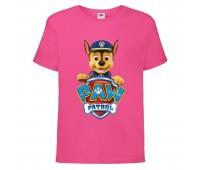 Футболка детская Щенячий патруль (Paw Patrol) розовая (racer-pink) размер 104 см