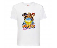 Футболка детская Наруто 001 (Naruto) белая (NAR wh 001) 128 см