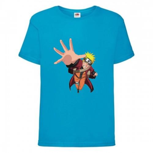 Футболка детская Наруто 036 (Naruto) голубая (NAR lblu 036) 128 см