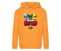 Худи детская  Бравл Старс 3 Лиона (Brawl Stars 3 Lion) оранжевая (BST orn 001) 116 см
