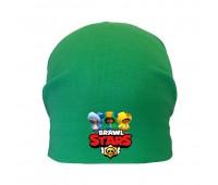 Шапка детская  зеленая (Brawl Stars-002) 54-56 см