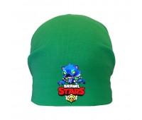 Шапка детская  зеленая (Brawl Stars-0017) 50-52 см