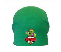 Шапка детская  зеленая (Brawl Stars-0019) 50-52 см